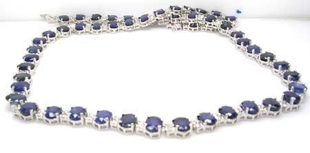 1688: 14WG 50.25ct Sapphire 3.10ct Diamond Necklace 40.