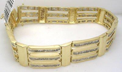 1719: 10KY 5cttw Diamond Bagg Mens Bracelet 50gr