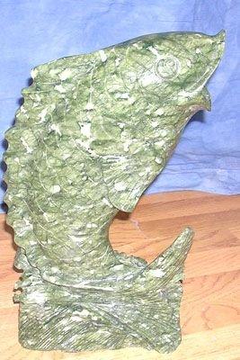 1200: Oriental Jade Carving Dark Green Fish in Waves
