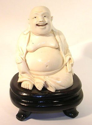 1203: Old Carved Ivory Laughing Buddha Statue