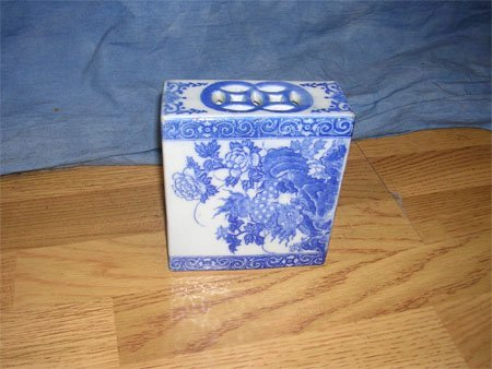 1210: Ching Dynasty Porcelain Blue Floral Pillowc.1880s
