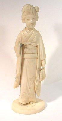 1213: Carved Elephant Ivory Figurine Geisha Signed