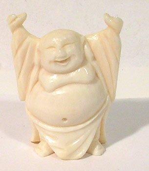 1216: Ivory vintage Handcarved Buddha