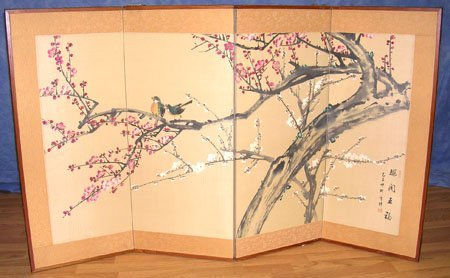 1219: Hand Painted Oriental Panel Screen