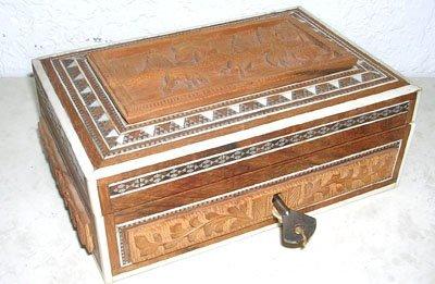 1223: Wood & Ivory Trim Indian Carved Trinket Box w/Key