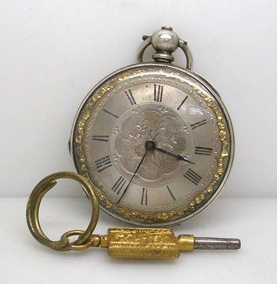 1850: Superb Victorian Keywind Silver Pocket Watch & Ch