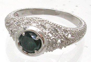 1252: 14KW .50ct Blue Diamond Circle Vintage Style Ring