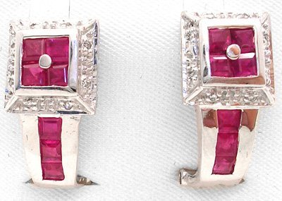 1260: 14KW 1.5cttw Ruby Princess Dia square Earrings