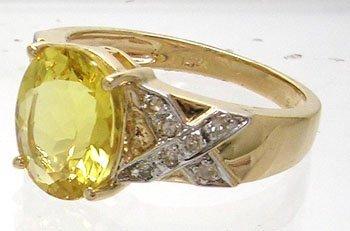 1262: 14KY 2.28ct Golden Beryl .12cttw Diamond Ring