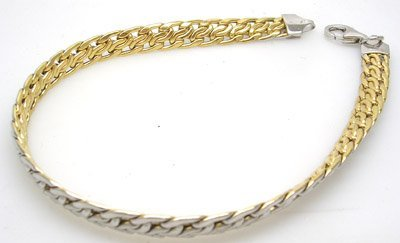 1266: 14KY Reversible 2 Tone Italian Byzantine Bracelet