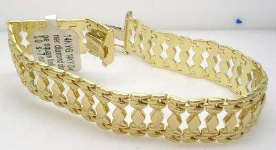 1267: 14KY Designer diamond shape square link Bracelet