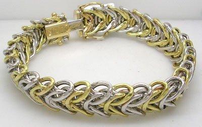 1268: 14KY Two tone woven wide bracelet 13.5gram