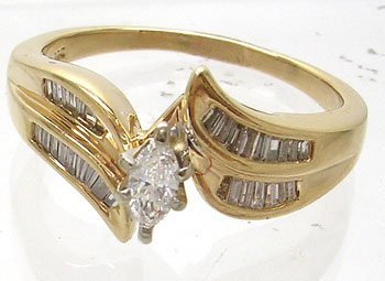 1270: 14KY .60ctw Diamond Marquise Baguette Ring