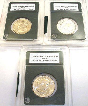 1273: 1980 $1 Susan B. Anthony Dollar PGS Cert 3 coin
