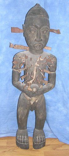 15003: Large Zaire Tribal Carved Power Figure