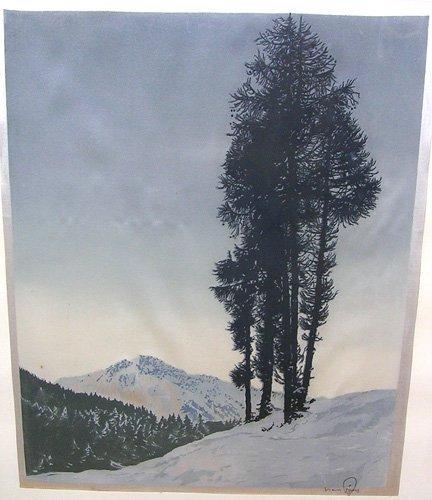 15007: Hans Figura Etching on Silk *Listed Artist!*