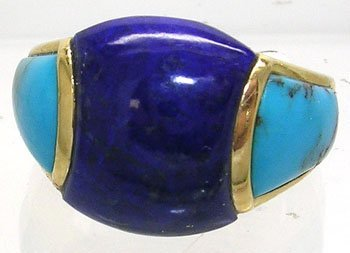 2625: 14KY Lapis American Turquoise Dome Ring