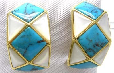 2627: 18KY 7mm Square Turquoise MOP Inlay Earring