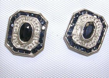 827: 14KW 1.75cttw Sapphire oval dia stud earring