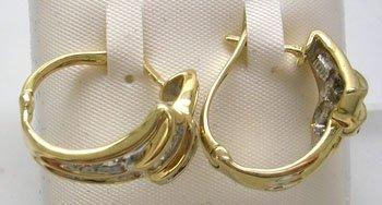 838: 10KY .50cttw Diamond channel hoop Earring