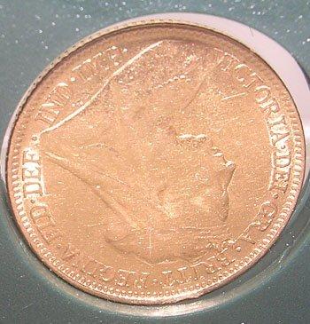 841: 22KY Victoria Half Sovereign Coin c. 1899