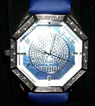 843: Techno Eagle Hexagon Diamond MOP Blue Watch