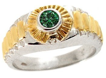 6: WG .30ct teal diamond bezel rolex man ring