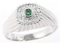 7: WG .09cttw blue diamond bezel dome mans ring