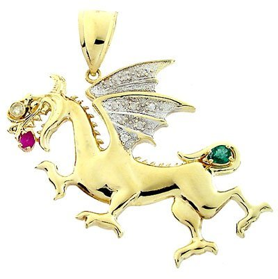 14: 10YG emerald Ruby Diamond Dragon Pendant