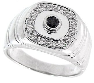 17: WG .35 cttw black & white diamond mans ring