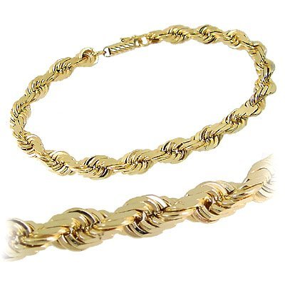 19: 14k yg 6mm Diamond Cut Rope Chain Bracelet