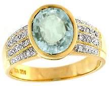 87: 14KY 2.5ct Aquamarine oval bezel Dia ring