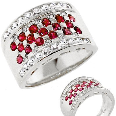 151: WG 2ct Fine Ruby white sapphire dia band ring