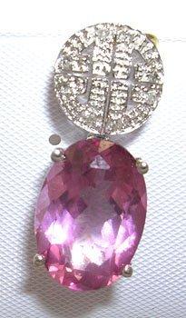 400: 14KW 7ct Pink topaz .06ct Diamond Pendant