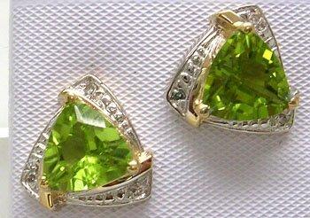 403: 14KY 3.49ct Peridot Trillion Diamond Earring