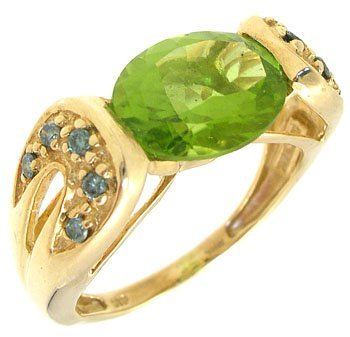 405: 14KY 2ct Peridot oval .10ct Teal Diamond ring