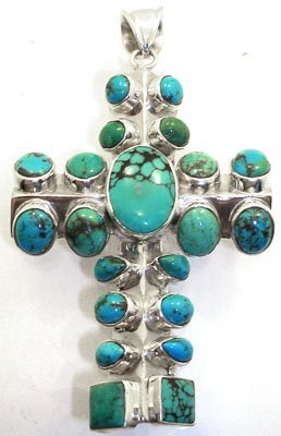 407: SSilver Turquoise Cross pendant