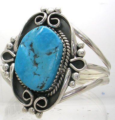 408: SSilver 28x20mm Turquoise Bracelet