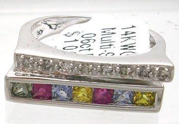 410: 14KW .72ct Multi-Sapphire .06ct Diamond Ring
