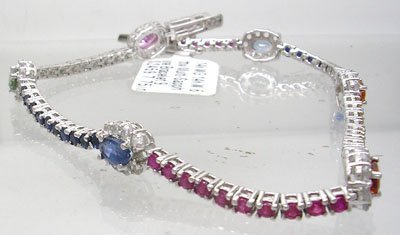 412: 14KW 6.26cttw Multi-Sapphire Bracelet 9.3gm