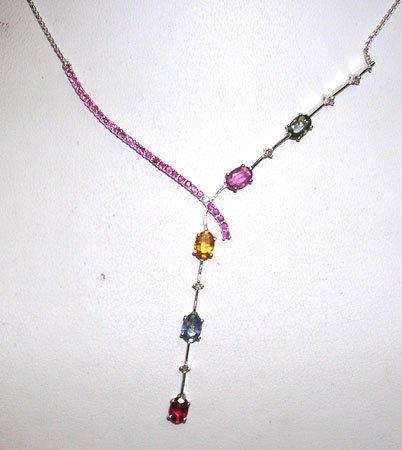 413: 3.5ct Multi-Sapphire .07ct Diamond Necklace