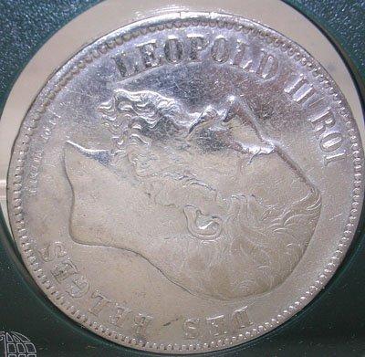 417: Belgium Leopold II Roi 5 Francs Coin c.1873
