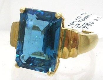 903: 10KY 8ct Blue Topaz E-cut Ring