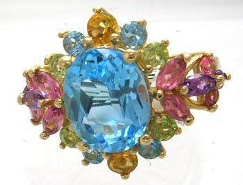 904: 14KY 4.5cttw Multi-Stone Blue Topaz Oval Ring