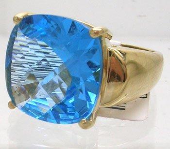 905: 14KY 10.5ct Blue Topaz Cushion Filigree Ring