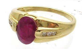 906: 14KY 1.50ct Ruby Oval Diamond Ring
