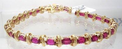 908: 14KY7.68cttw Ruby Oval S-Link Bracelet 9.5gm