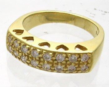 914: 18KY .32cttw Diamond Ladies Fashion 2 Row Ring