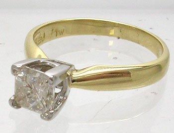 959: 14KY 1ct Diamond Princess Solitare Ring