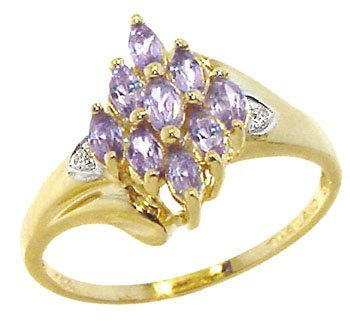 1105: 14YG .50ct Tanzanite Diamond marq cluster ring